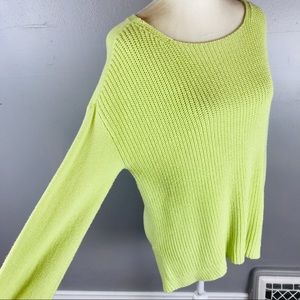 LOFT tunic length hi low sweater lime green Large